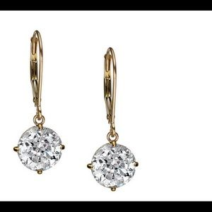 Diamonique 14K Yellow Gold Earrings